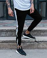 Спортивные штаны черные с белой полоской мужские от бренда ТУР модель Рокки (Rocky) размер XS, S, M, L