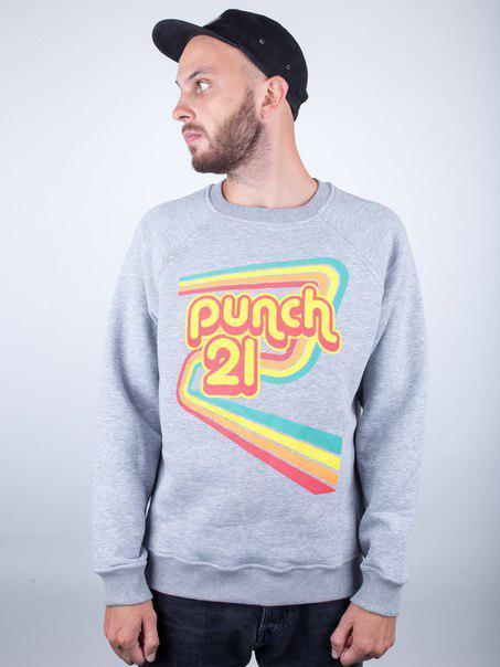 Свитшот серый Punch - 70s Vibes, Grey
