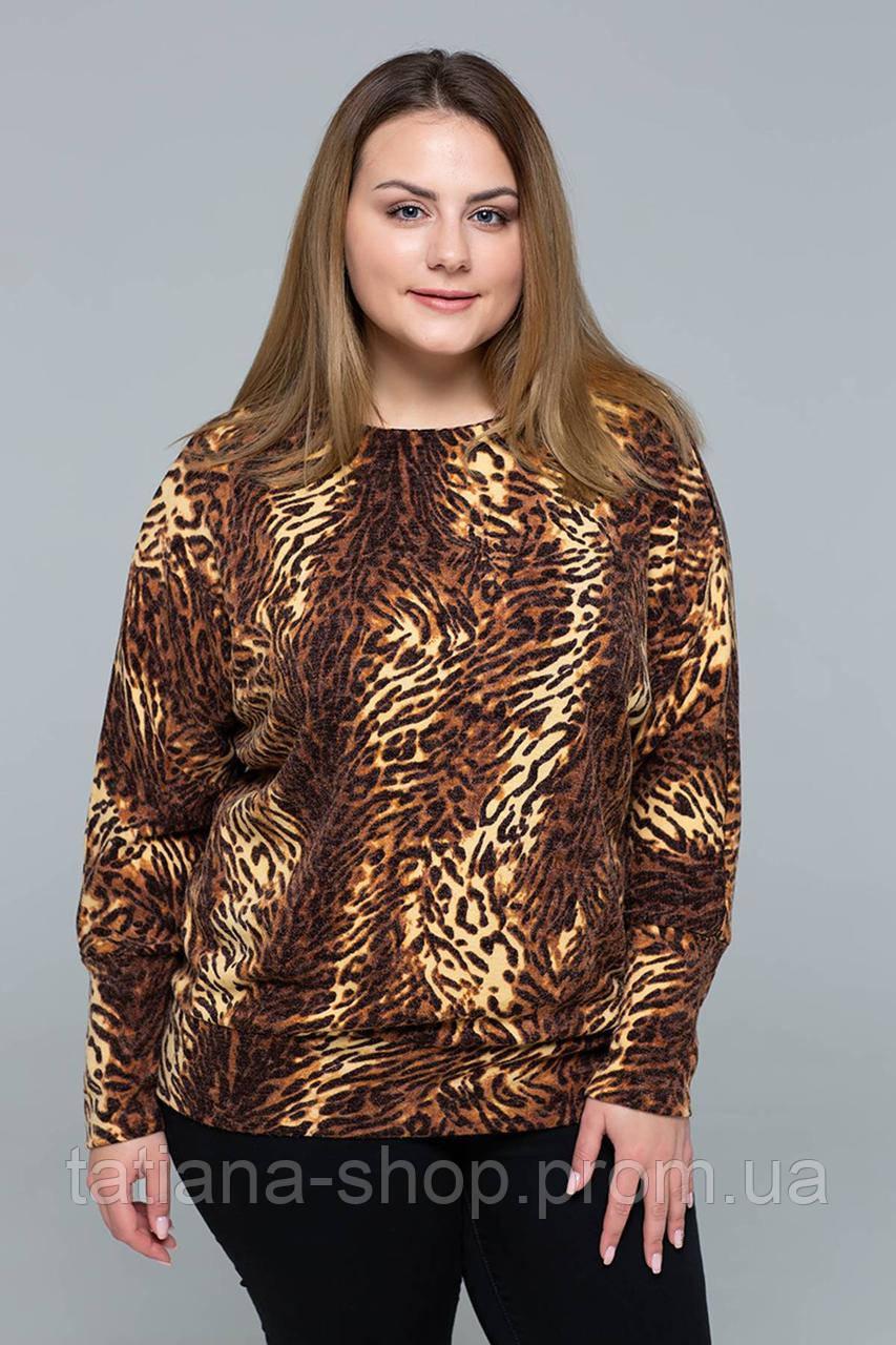 Джемпер из ангоры с тигровым принтом КЕТТИ коричневый, фото 1