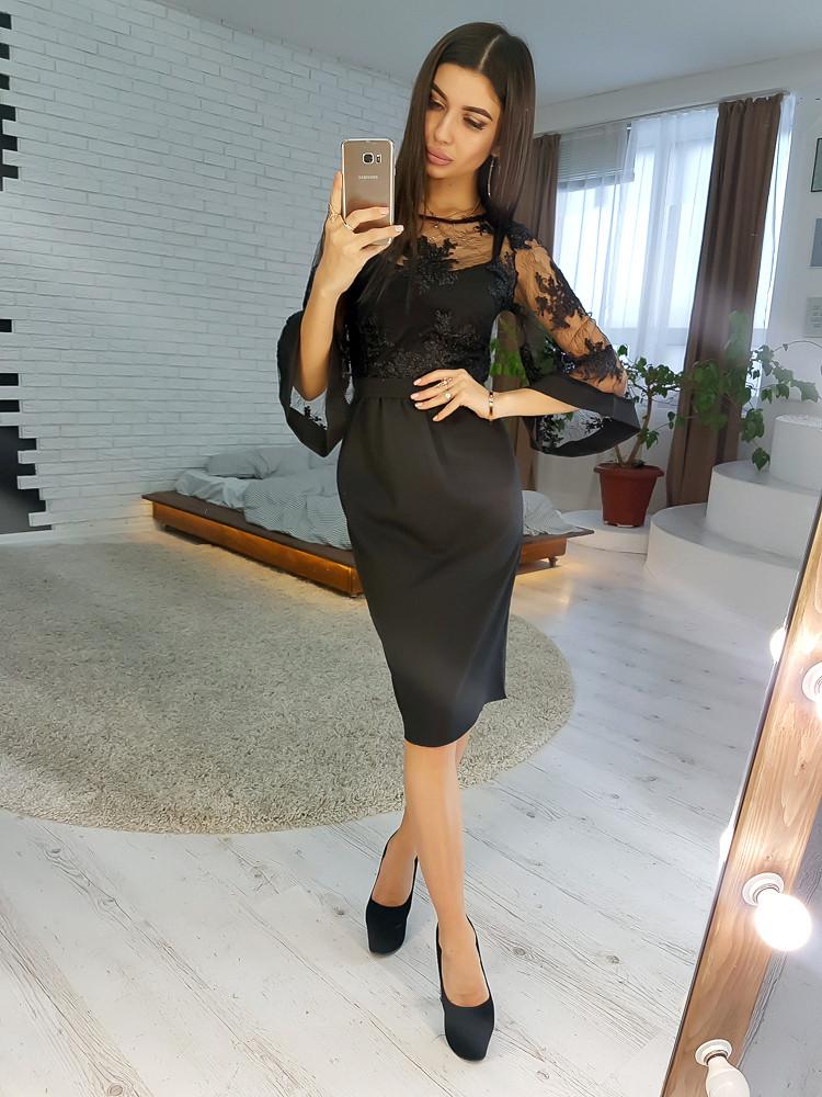 b906a2d7d38 Черное кружевное платье с расклешенными рукавами VL4294 S. Размер 42. -  Чулочно-носочная