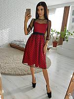 11fc8226e4c Красное платье миди с юбкой из сетки -добби VL4309 S. Размер 42.
