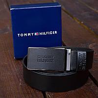 Ремень кожаный мужской черный Томми Хилфигер (Тommy Hilfiger) реплика