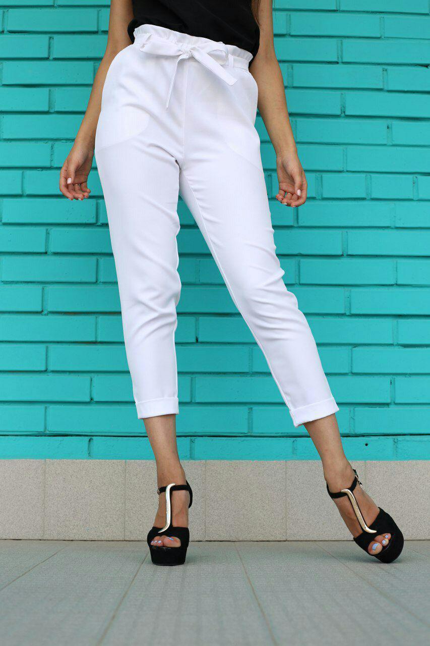 Белые женские брюки на высокой талии