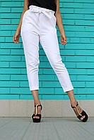 Білі жіночі штани на високій талії