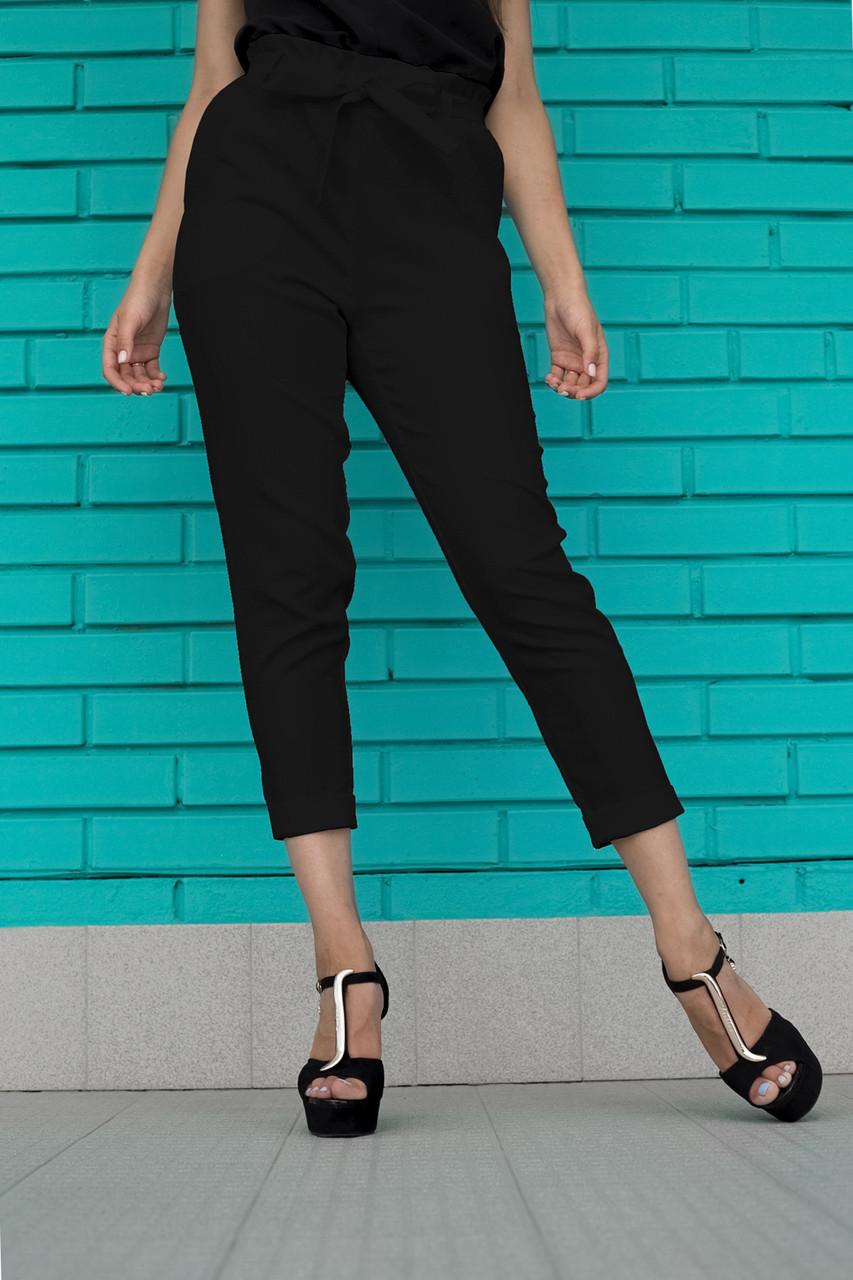 Черные  женские брюки на высокой талии