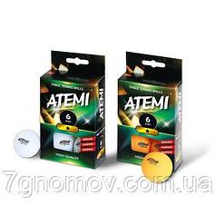 Мячики для настольного тенниса Atemi 1* 6шт оранжевые