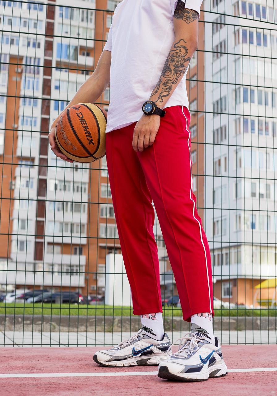 Спортивні штани чоловічі червоні з смужками модель Кейдж (Cage) від бренду ТУР розмір S, M, L, XL