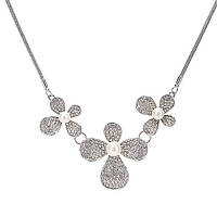 "Колье ""Certina"" покрытие серебро с кристаллами swarovski и жемчугом"