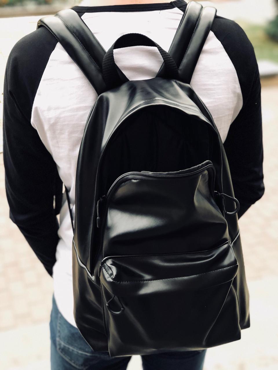 """Рюкзак черный с эко-кожи """"Black18"""""""