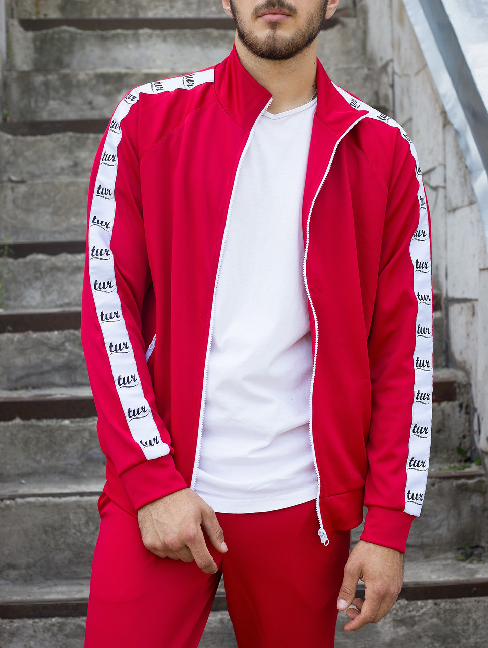Мастерка олимпийка мужская красная бренд ТУР модель Смоук (Smoke) размер XS, S, M, L, XL