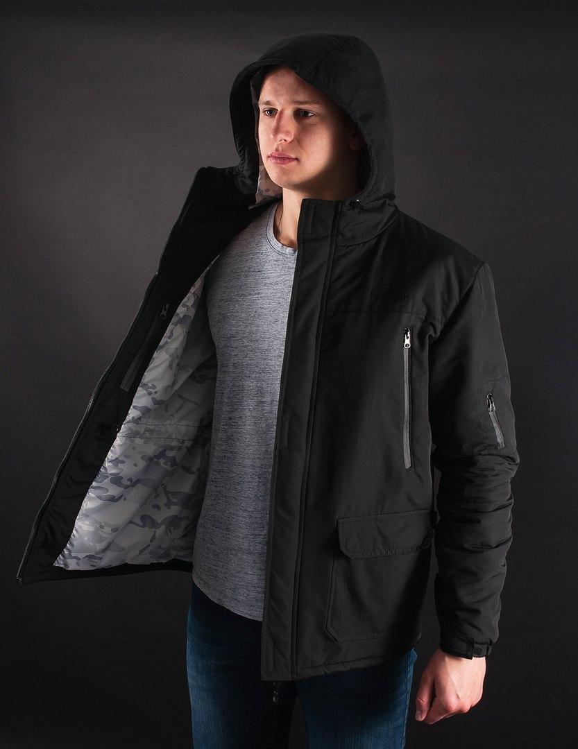 """Зимова чоловіча чорна парка модель """"black blade"""" від бренду Bezet"""