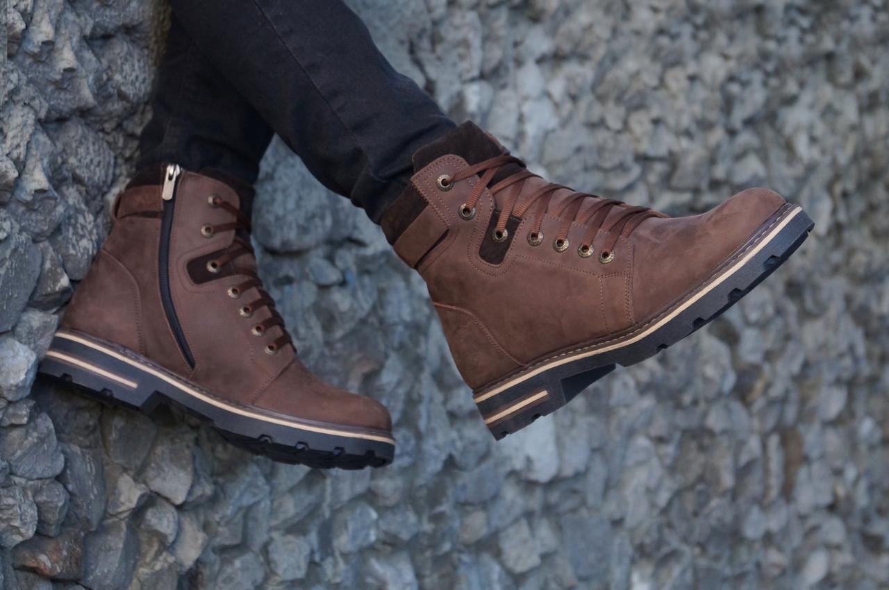 Зимові черевики шкіряні чоловічі коричневі. Розмір 40-45