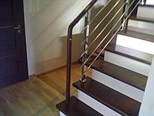 Перила нержавеющие квадратные с деревянным поручнем, фото 2