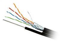 """Кабель FTP (РЕМ) наружный с тросом 4пары в экране 4x2x(0,51мм CCA) """"CommSpace"""", чёрный, 500м/бухта"""