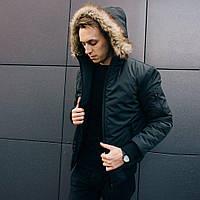 Зимняя мужская черная куртка парка размер S, M, L, XL, фото 1