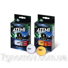 Мячики для настольного тенниса Atemi 3* 6шт белые