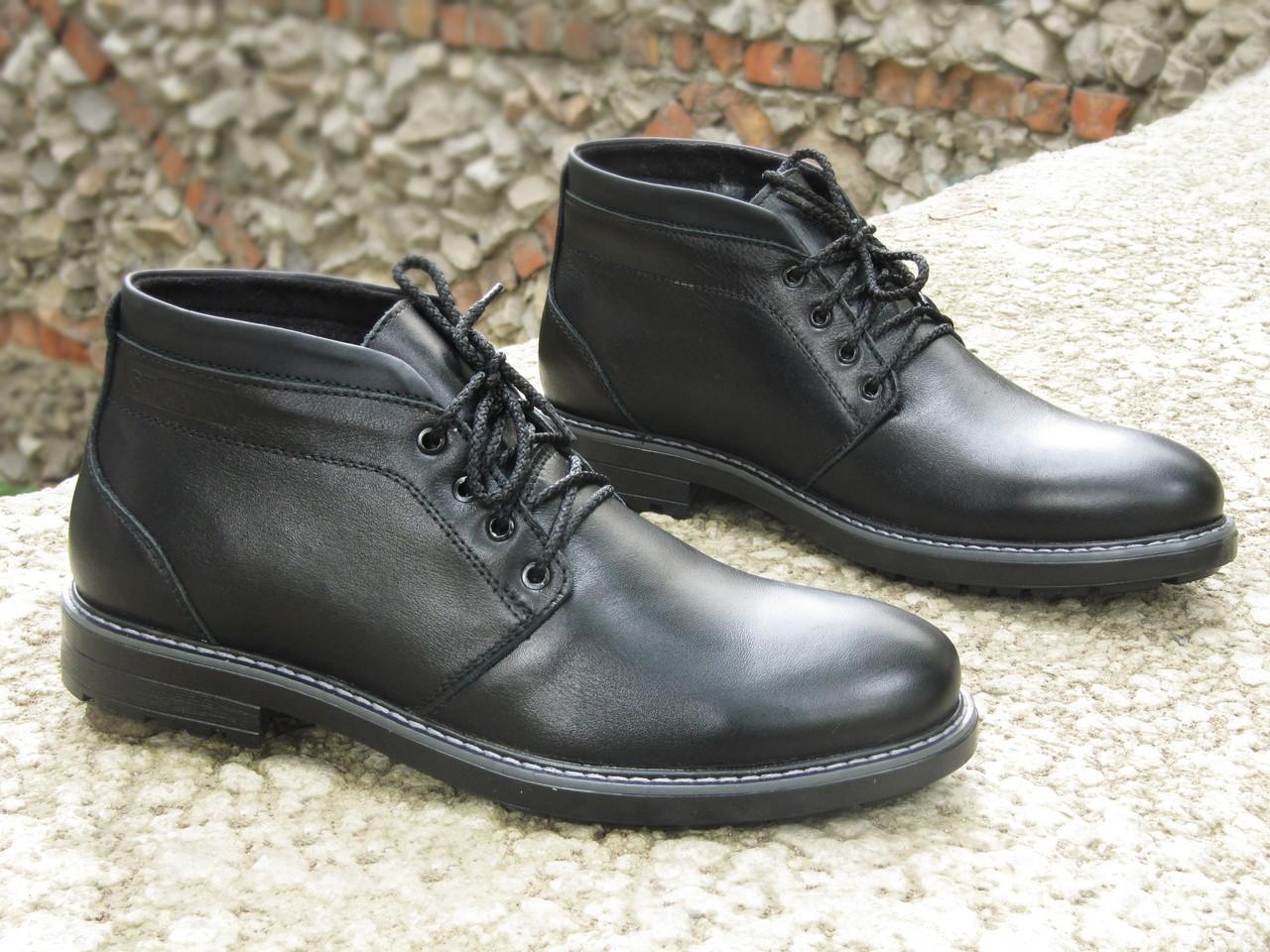 Зимние ботинки дезерты мужские черные кожаные размер 40, 41, 42, 43, 44, 45