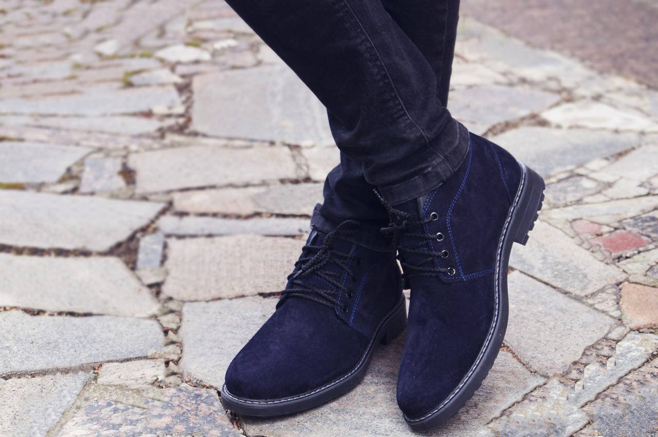 Зимові черевики Дезерт чоловічі сині замшеві розмір 40, 41, 42, 43, 44, 45