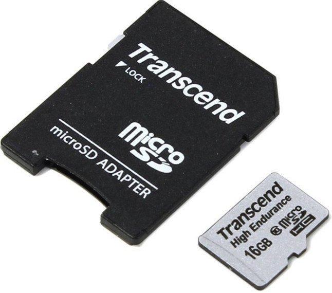 Карта памяти Transcend microSDHC 16GB Class 10 High Endurance + adapter (TS16GUSDHC10V)