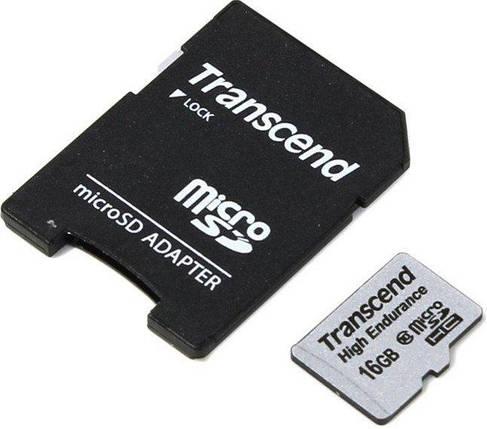 Карта памяти Transcend microSDHC 16GB Class 10 High Endurance + adapter (TS16GUSDHC10V), фото 2