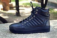 Зимние ботинки хайтопы мужские черные кожаные размер 40, 41, 42, 43, 44, 45, фото 1