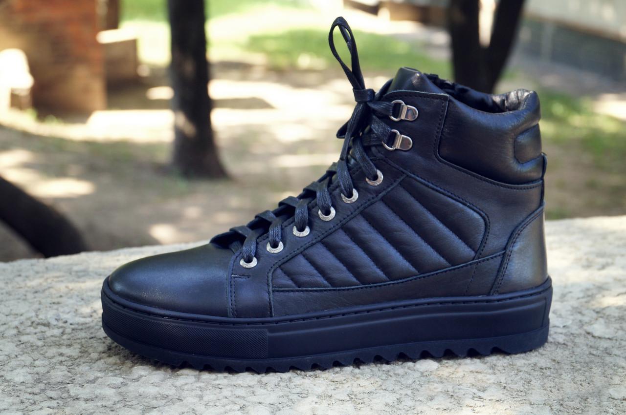 Зимние ботинки хайтопы мужские черные кожаные размер 40, 41, 42, 43, 44, 45