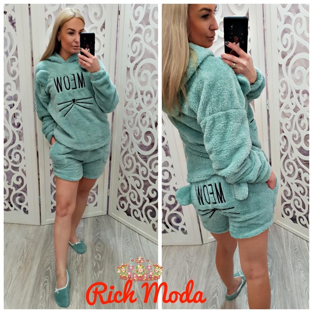 eadd335cf3df2 Женская махровая пижама с шортами Турция - Интернет-магазин