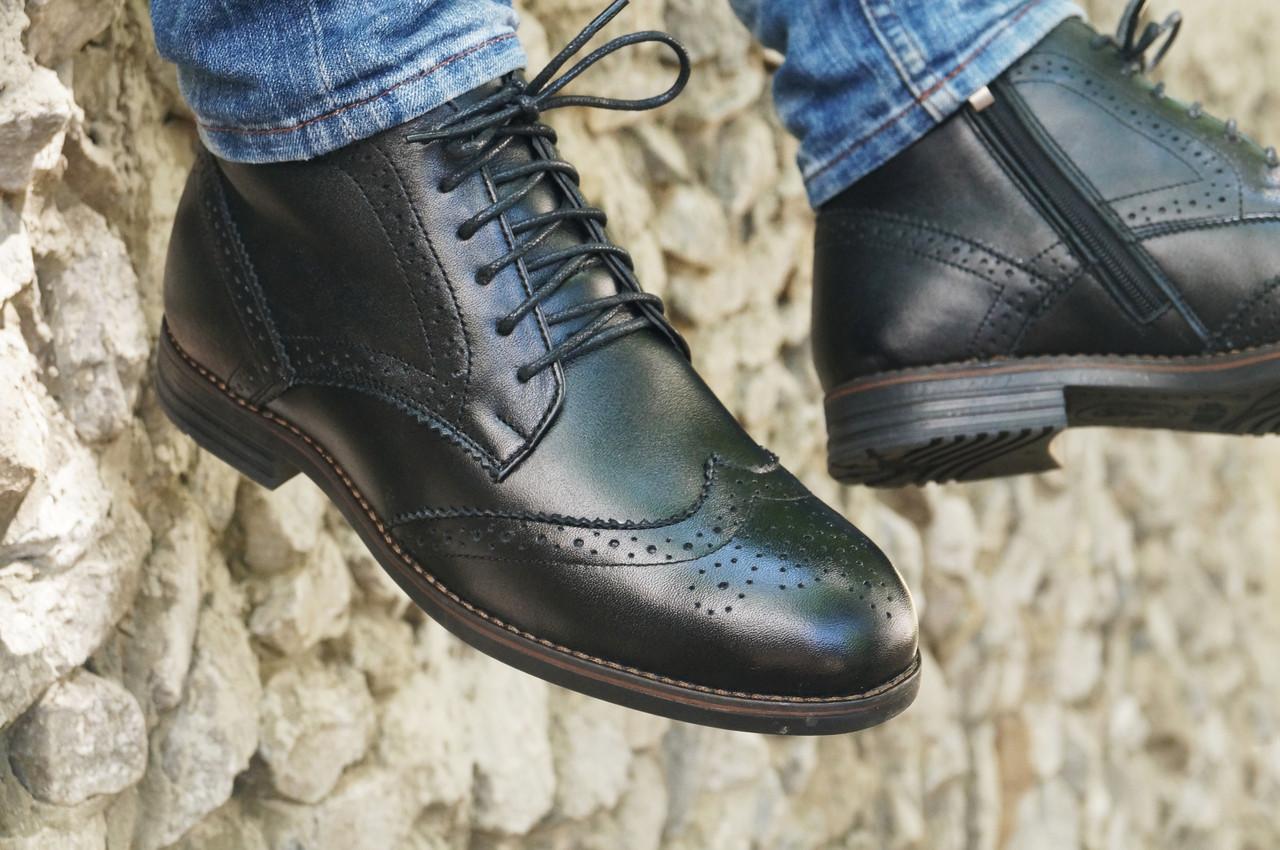 Демісезонні черевики броги чоловічі чорні шкіряні розмір 40, 41, 42, 43, 44, 45