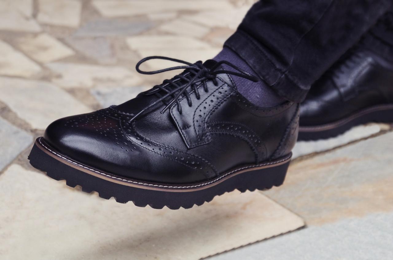 Туфлі броги чоловічі чорні шкіряні Онікс (Onyx) від бренду Legessy розмір 40, 41, 42, 43, 44, 45