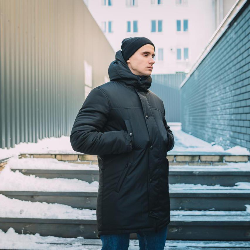 Зимняя куртка парка мужская черная Стим (Steam) от бренда Punch размер S, M, L, XL