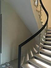 Перила нержавеющие на винтовую лестницу с деревянным поручнем, фото 2