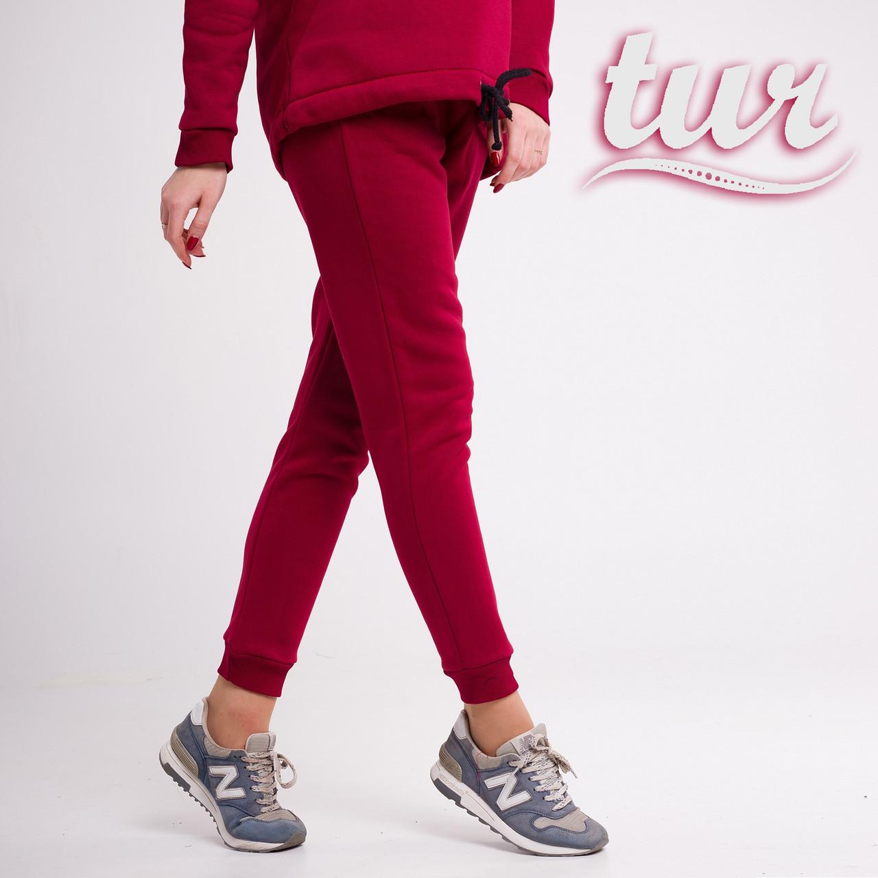 Зимове спортивні штани жіночі бордові від бренду ТУР розмір S, M