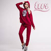 Зимовий спортивний костюм жіночий бордовий з принтом від бренду ТУР розмір S, M