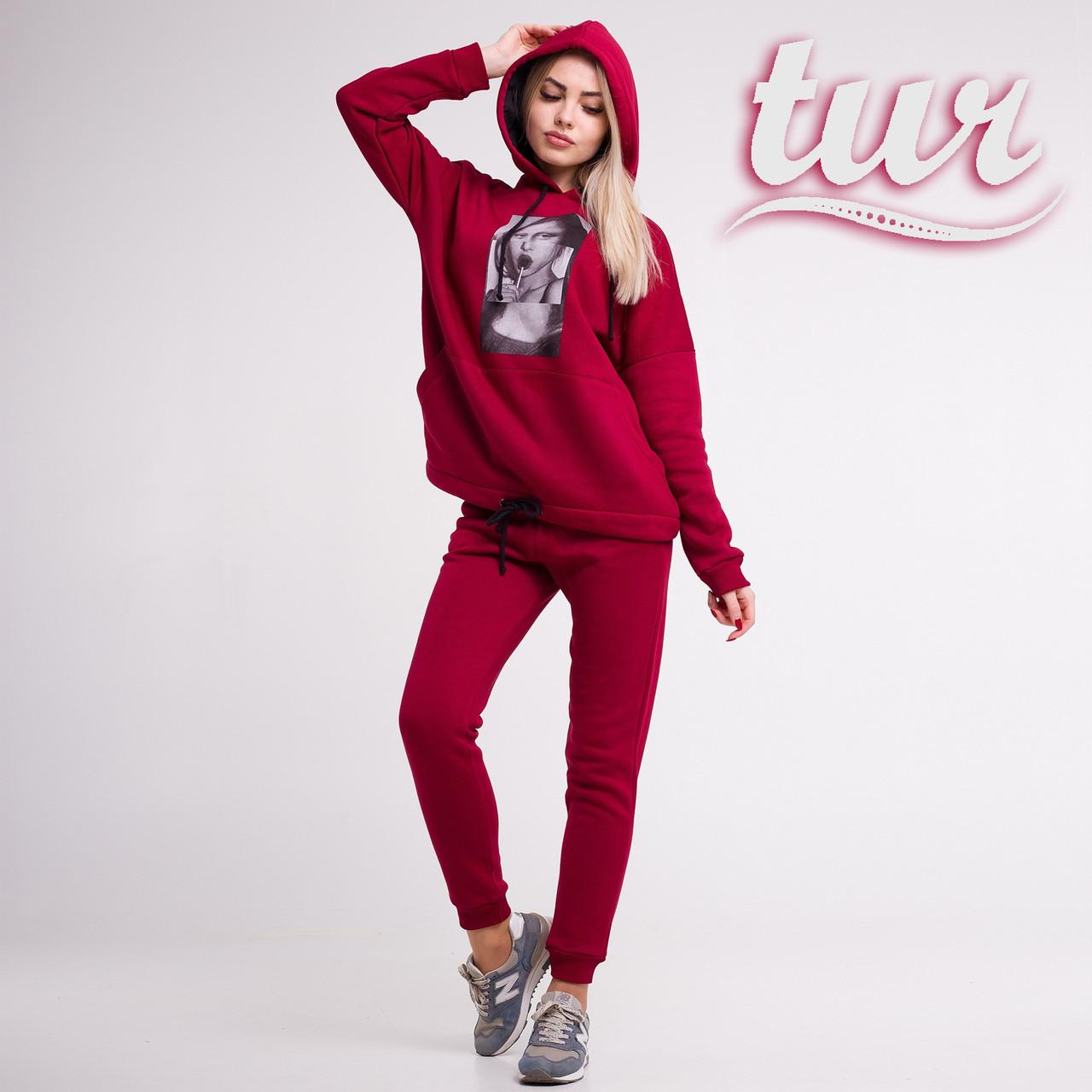 Зимовий спортивний костюм жіночий бордовий з принтом від бренду ТУР розмір S, M, фото 1