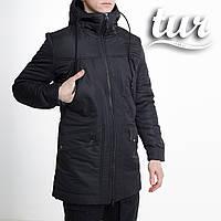 Зимова куртка парку чоловіча чорна водовідштовхувальна Грізлі (Grizli) від бренду ТУР розмір S, M, L, XL, XXL