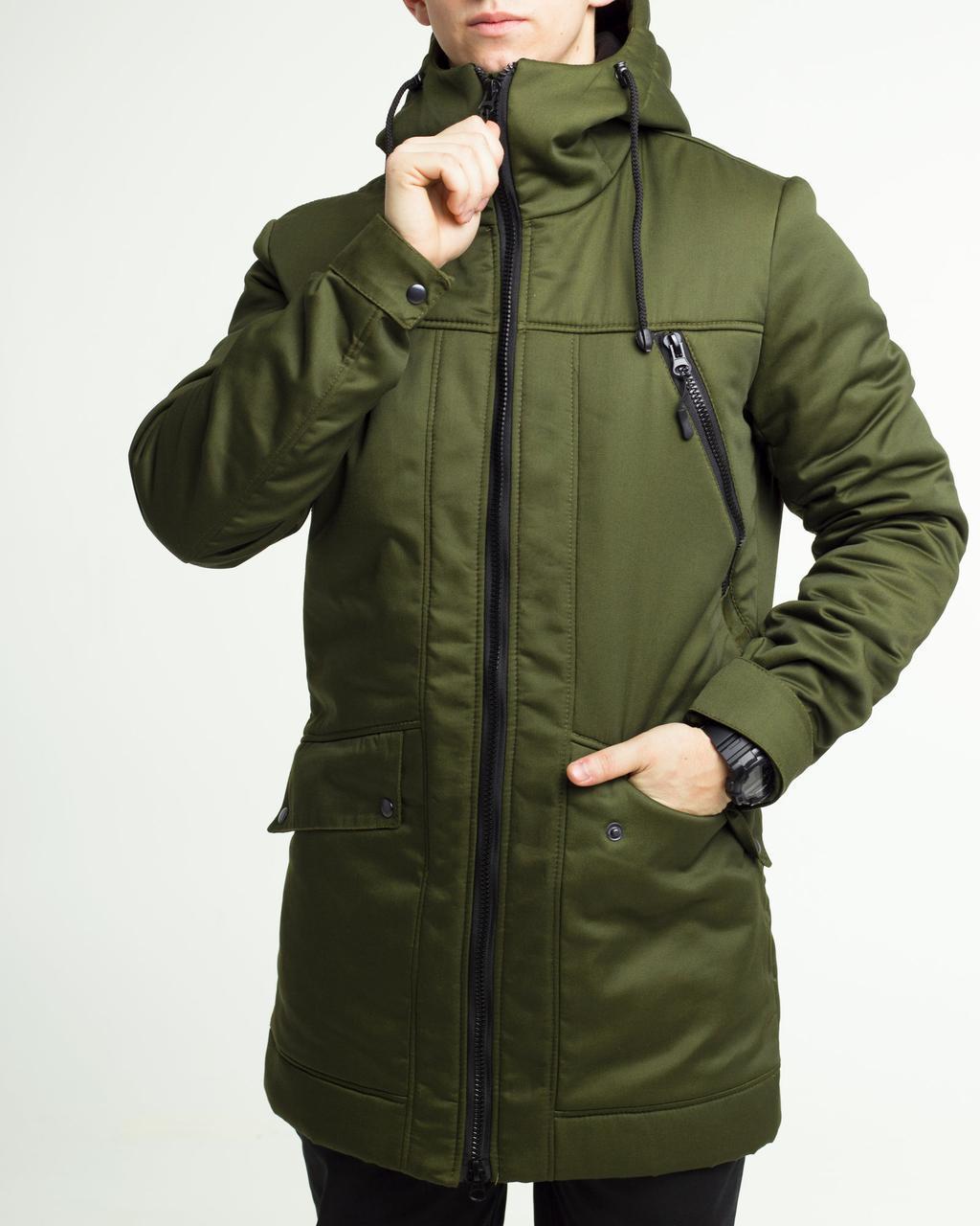Зимова куртка парку чоловіча хакі водовідштовхувальна Грізлі (Grizli) від бренду ТУР розмір S, M, L, XL, XXL