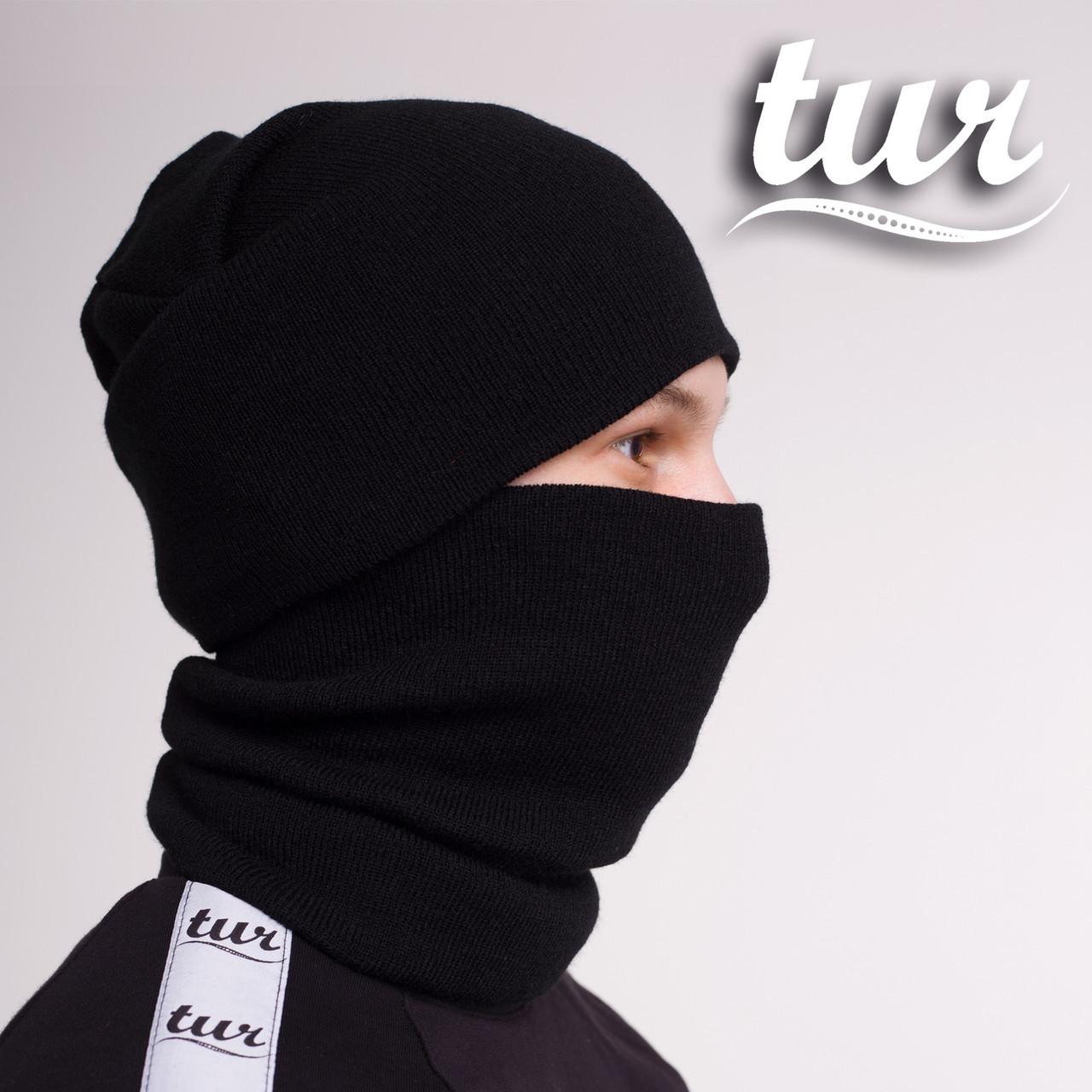Зимовий комплект шапка і баф чорні від бренду ТУР