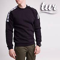 Зимний свитшот реглан мужской чёрный с лампасом от бренда ТУР Сайбот (Saibot ) размер S, M, L, XL, фото 1