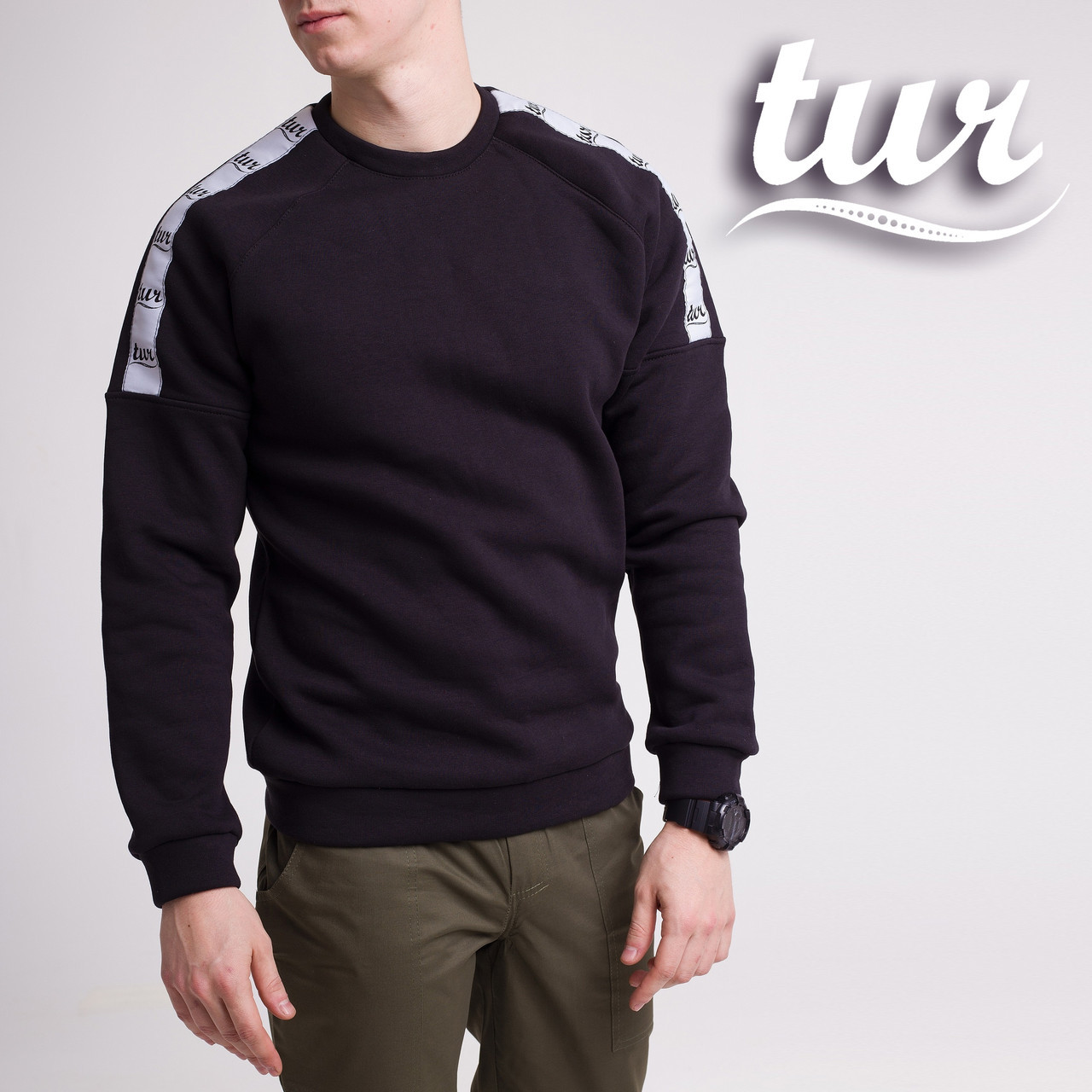 Зимний свитшот реглан мужской чёрный с лампасом от бренда ТУР Сайбот (Saibot ) размер S, M, L, XL