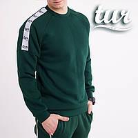Зимний свитшот реглан мужской зеленый с лампасом от бренда ТУР Сайбот (Saibot ) размер S, M, L, XL, фото 1