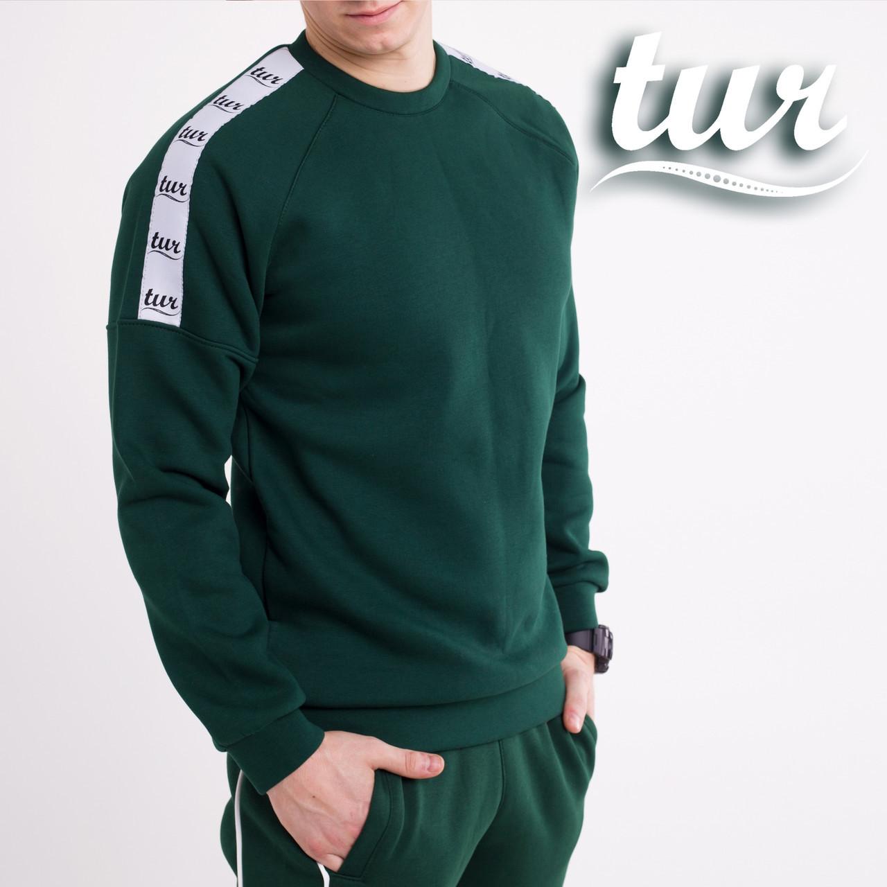 Зимний свитшот реглан мужской зеленый с лампасом от бренда ТУР Сайбот (Saibot ) размер S, M, L, XL
