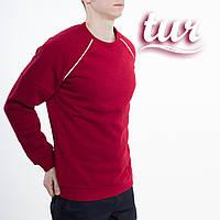 Зимовий світшот реглан чоловічий бордовий зі смужками від бренду ТУР Сектор (Sector) розмір S, M, L, XL