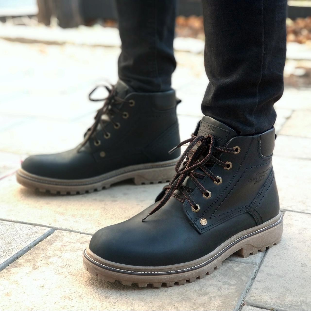 Зимние ботинки мужские черные кожаные Дезерт Бирс (Desert Bears) размер 40, 41, 42, 43, 44, 45