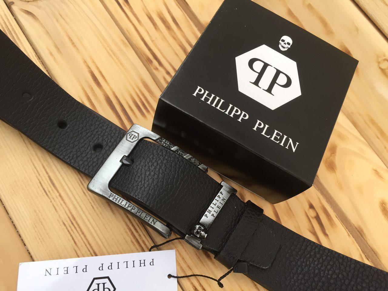 Ремень кожаный мужской черный Филипп Плэйн (Philipp Plein) реплика
