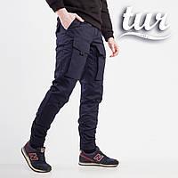 Теплые штаны карго на флисе мужские темно-синие бренд ТУР модель Один (Odin) 47e9aa5cfc5ea