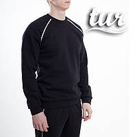 Зимний свитшот реглан мужской чёрный с полосками от бренда ТУР Сектор (Sector) размер S, M, L, XL, фото 1