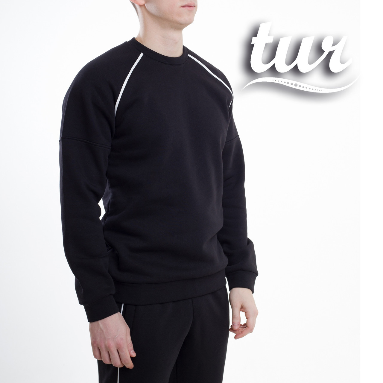 Зимовий світшот реглан чоловічий чорний зі смужками від бренду ТУР Сектор (Sector) розмір S, M, L, XL