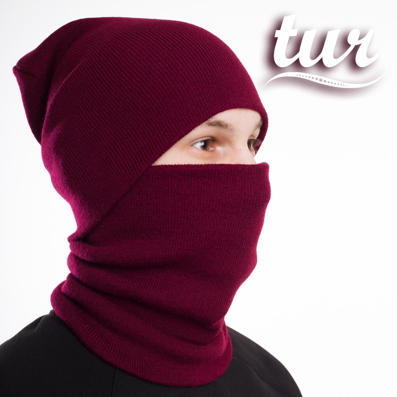Зимовий комплект бордо шапка і баф від бренду ТУР