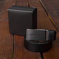 Ремень кожаный мужской черный Келвин Кляйн (Calvin Klein) реплика, фото 1
