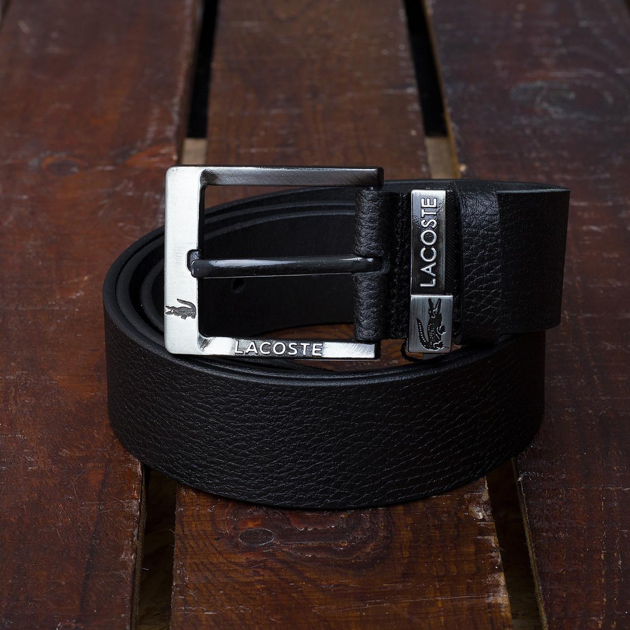 Ремень кожаный мужской черный Лакоста (Lacoste) реплика